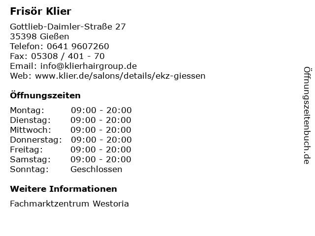 Frisör Klier GmbH in Gießen: Adresse und Öffnungszeiten