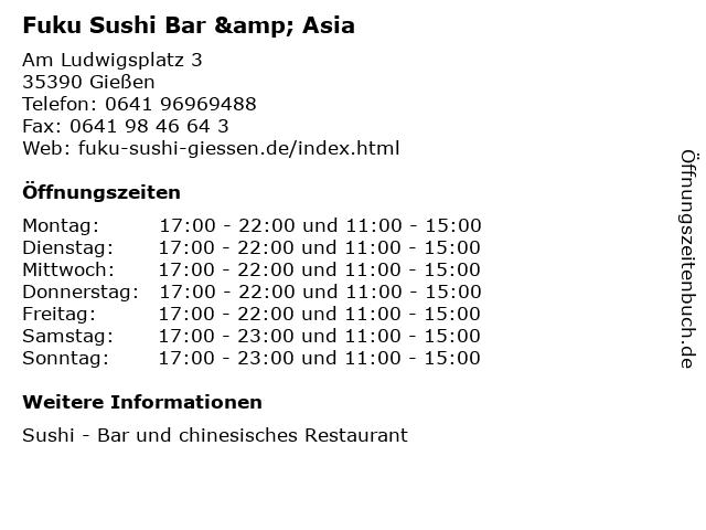 Fuku Sushi Bar & Asia in Gießen: Adresse und Öffnungszeiten