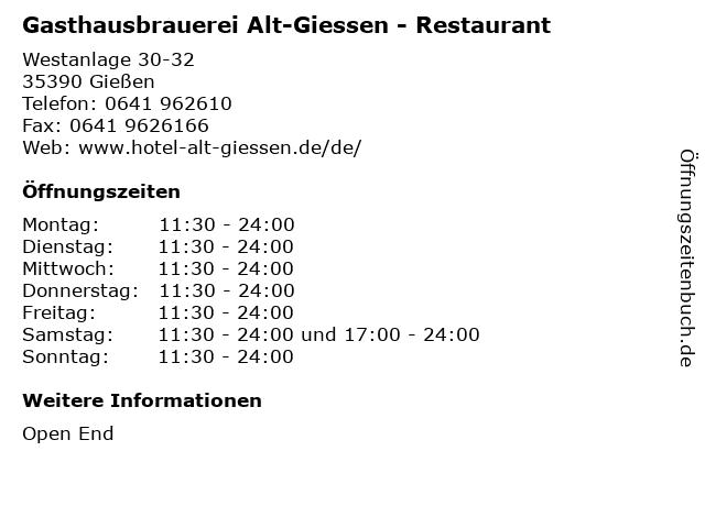 Gasthausbrauerei Alt-Giessen - Restaurant in Gießen: Adresse und Öffnungszeiten