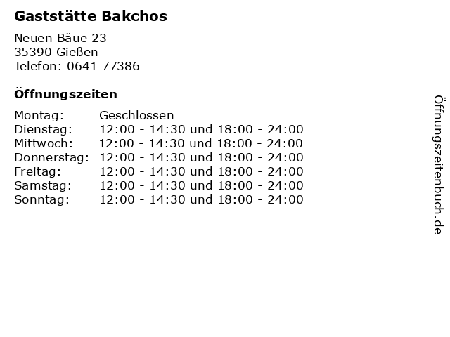 Gaststätte Bakchos in Gießen: Adresse und Öffnungszeiten