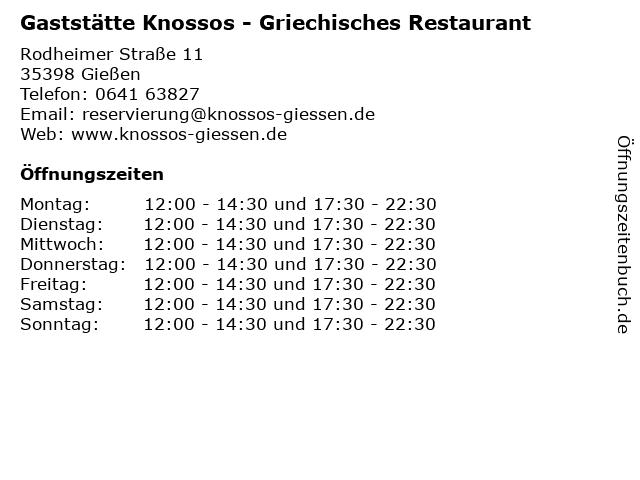 Gaststätte Knossos - Griechisches Restaurant in Gießen: Adresse und Öffnungszeiten