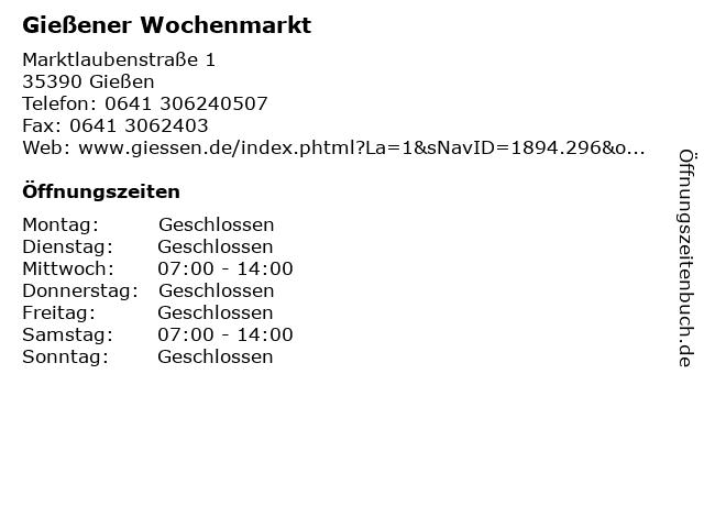 Wochenmarkt Gießen öffnungszeiten