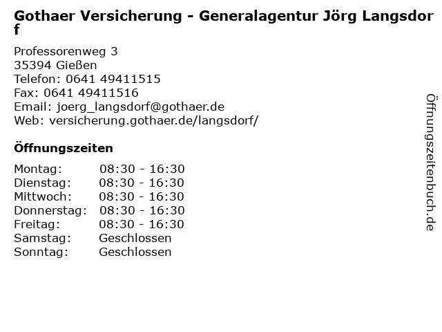 Gothaer Versicherung - Generalagentur Jörg Langsdorf in Gießen: Adresse und Öffnungszeiten
