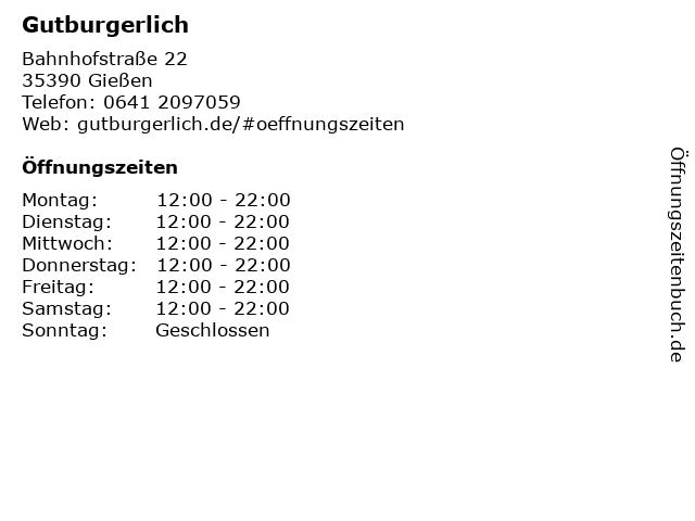 Gutburgerlich in Gießen: Adresse und Öffnungszeiten