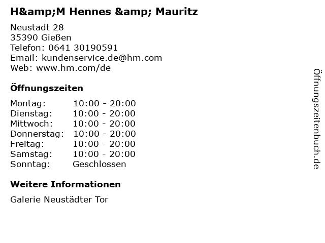 H&M Hennes & Mauritz in Gießen: Adresse und Öffnungszeiten