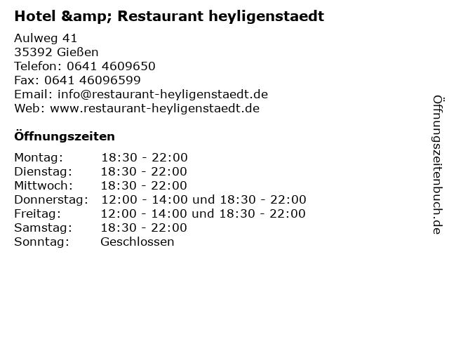 Hotel & Restaurant heyligenstaedt in Gießen: Adresse und Öffnungszeiten