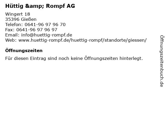 Hüttig & Rompf AG in Gießen: Adresse und Öffnungszeiten