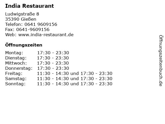 India Restaurant in Gießen: Adresse und Öffnungszeiten