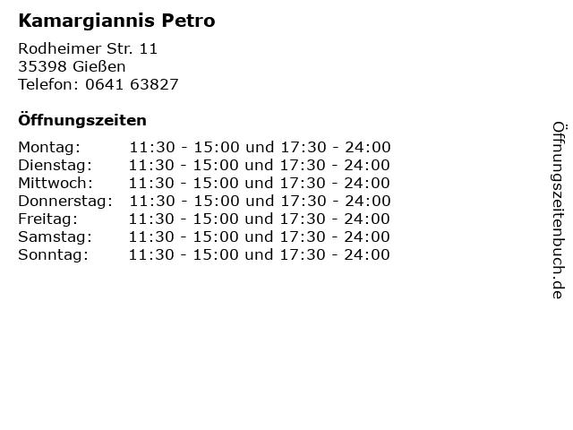 Kamargiannis Petro in Gießen: Adresse und Öffnungszeiten