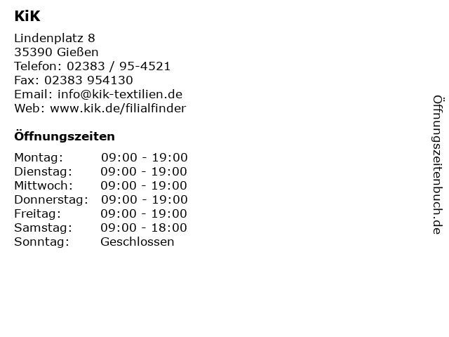 KiK in Gießen: Adresse und Öffnungszeiten