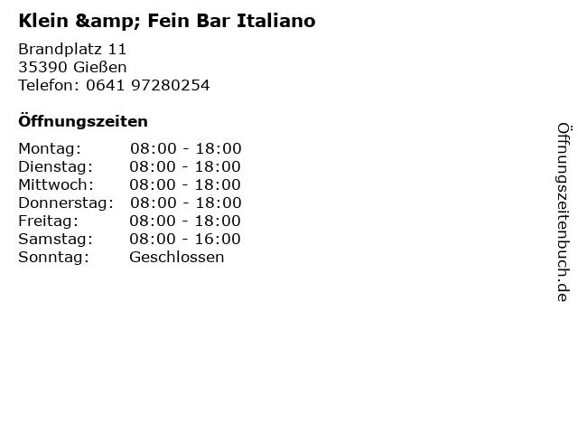 Klein & Fein Bar Italiano in Gießen: Adresse und Öffnungszeiten