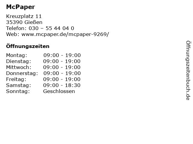 McPaper AG - Deutsche Post Verkaufspunkt in Gießen: Adresse und Öffnungszeiten