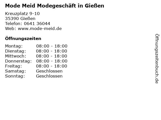 Mode Meid Modegeschäft in Gießen in Gießen: Adresse und Öffnungszeiten