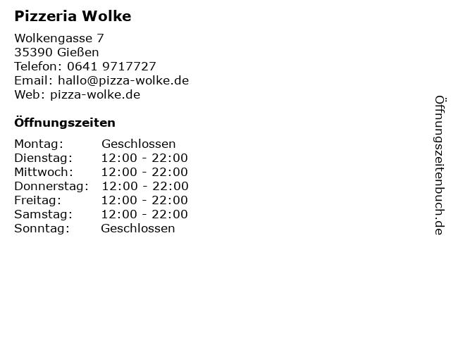 Pizzeria Wolke in Gießen: Adresse und Öffnungszeiten