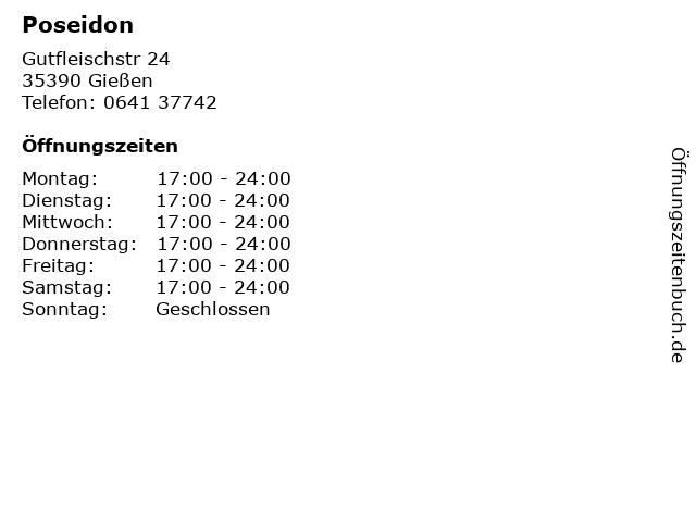 Poseidon in Gießen: Adresse und Öffnungszeiten