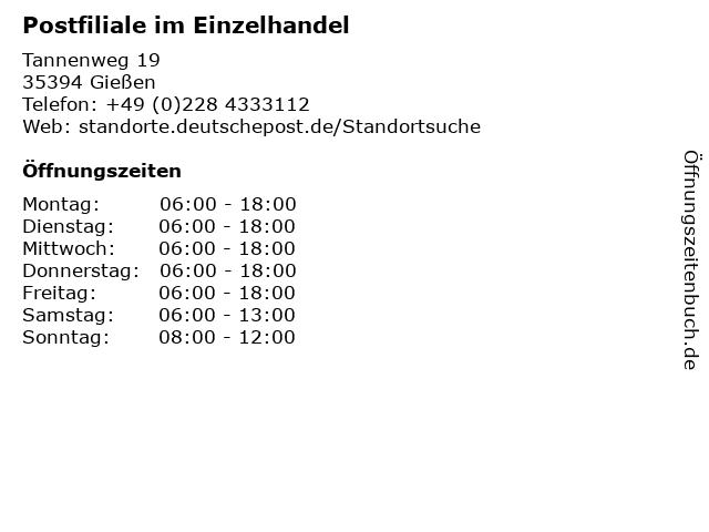 Postfiliale im Einzelhandel in Gießen: Adresse und Öffnungszeiten