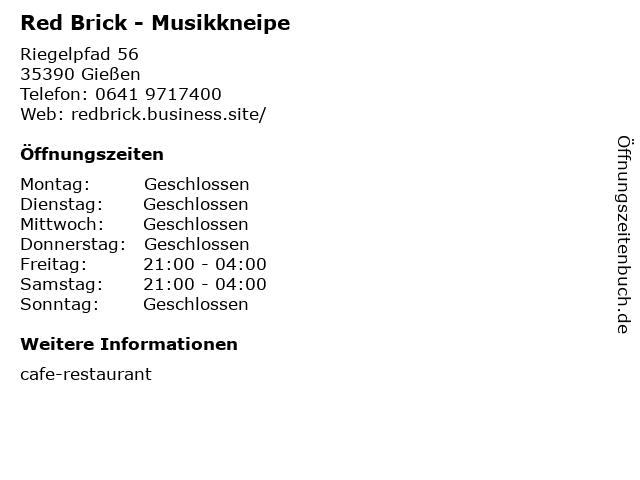 Red Brick - Musikkneipe in Gießen: Adresse und Öffnungszeiten