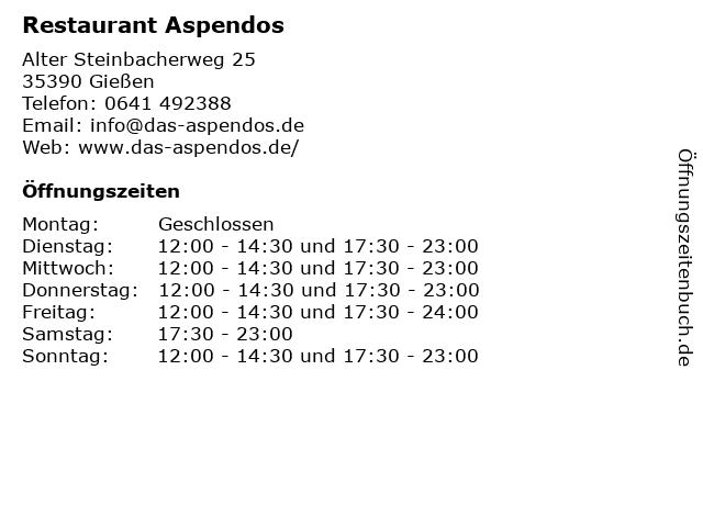 Restaurant Aspendos in Gießen: Adresse und Öffnungszeiten