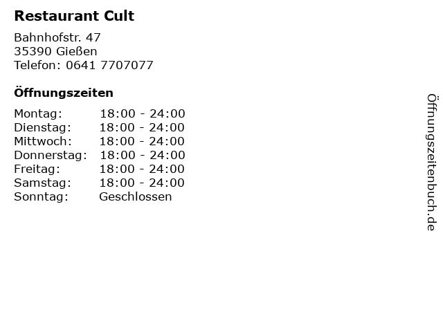 Restaurant Cult in Gießen: Adresse und Öffnungszeiten