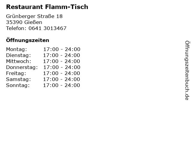 Restaurant Flamm-Tisch in Gießen: Adresse und Öffnungszeiten