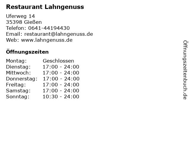 Restaurant Lahngenuss in Gießen: Adresse und Öffnungszeiten