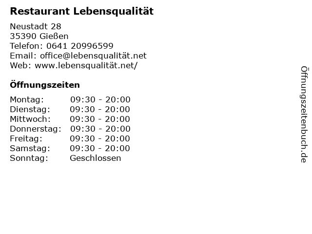 Restaurant Lebensqualität in Gießen: Adresse und Öffnungszeiten
