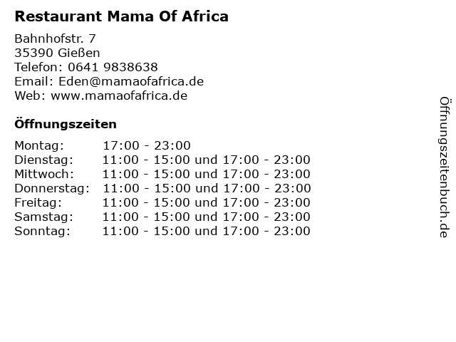 Restaurant Mama Of Africa in Gießen: Adresse und Öffnungszeiten