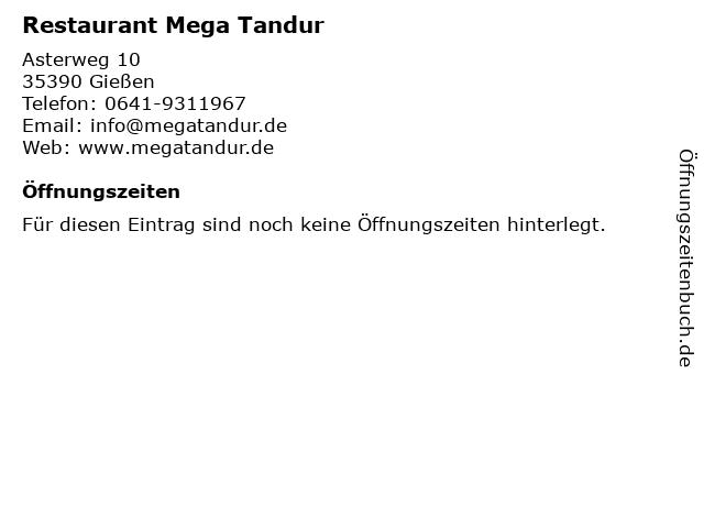 Restaurant Mega Tandur in Gießen: Adresse und Öffnungszeiten