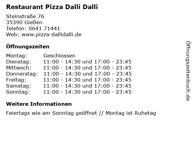 Restaurant Pizza Dalli Dalli in Gießen: Adresse und Öffnungszeiten