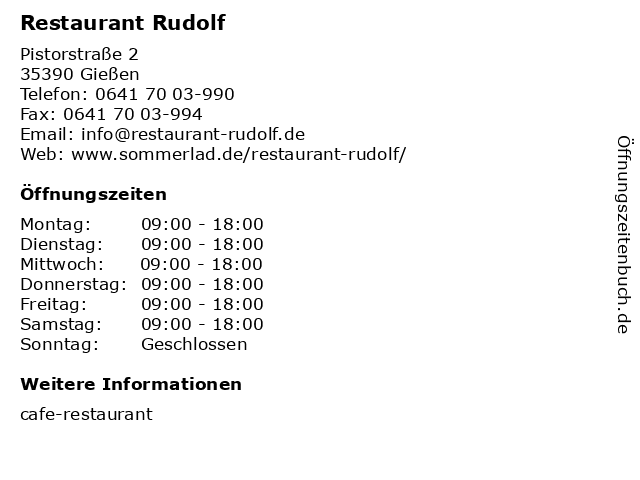 Restaurant Rudolf in Gießen: Adresse und Öffnungszeiten