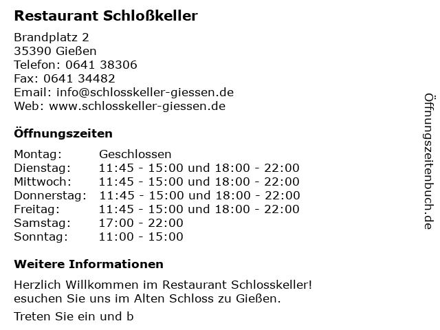 Restaurant Schloßkeller in Gießen: Adresse und Öffnungszeiten