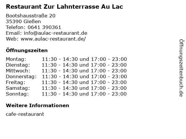 Restaurant Zur Lahnterrasse Au Lac in Gießen: Adresse und Öffnungszeiten