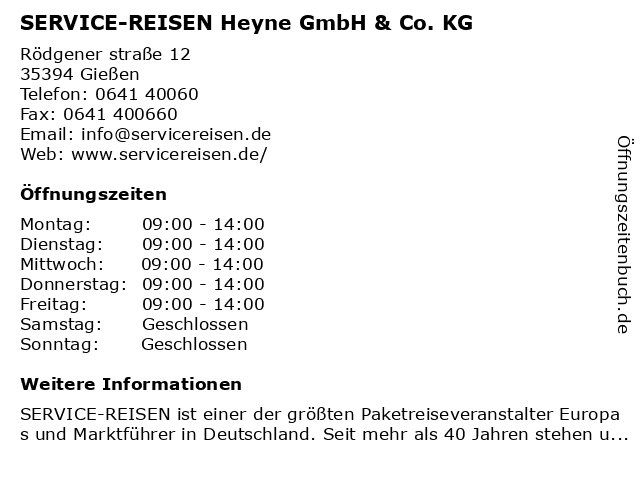 Service Reisen Giessen Heyne GmbH & Co. KG in Gießen: Adresse und Öffnungszeiten