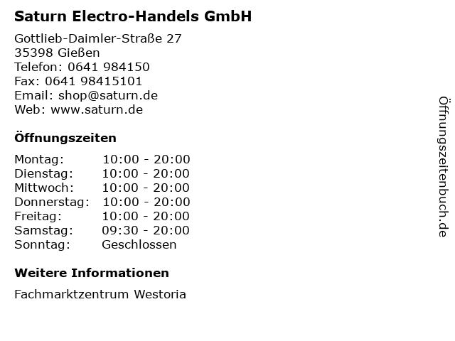 Saturn Electro-Handels GmbH in Gießen: Adresse und Öffnungszeiten