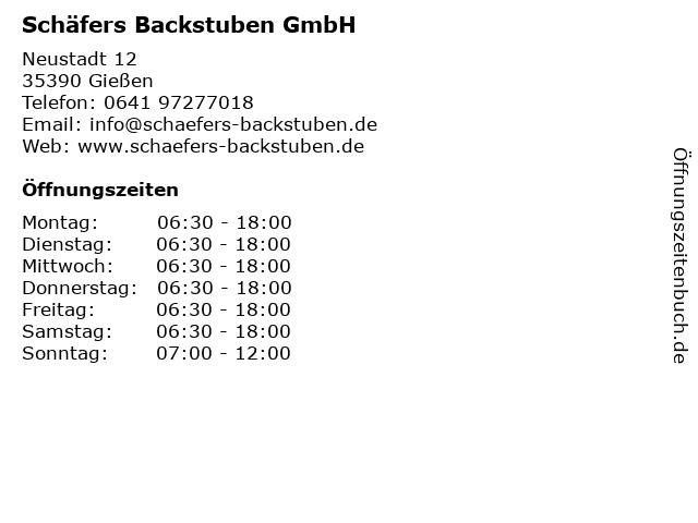Schäfers Backstuben GmbH in Gießen: Adresse und Öffnungszeiten