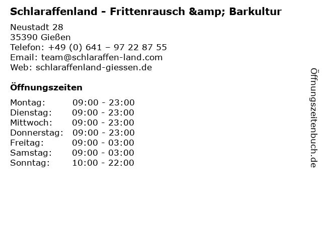 Schlaraffenland - Frittenrausch & Barkultur in Gießen: Adresse und Öffnungszeiten