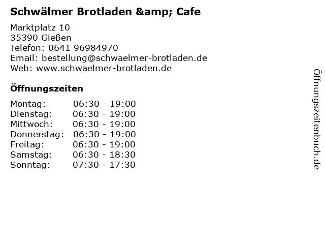 Schwälmer Brotladen & Cafe in Gießen: Adresse und Öffnungszeiten