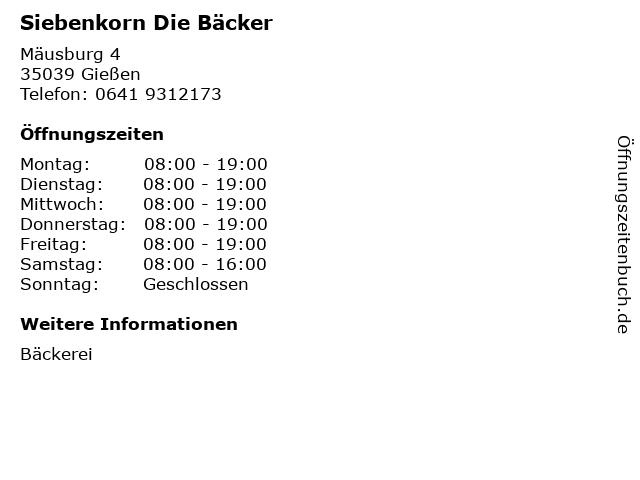 Siebenkorn Die Bäcker in Gießen: Adresse und Öffnungszeiten
