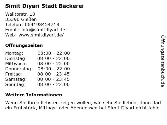 Simit Diyari Stadt Bäckerei in Gießen: Adresse und Öffnungszeiten
