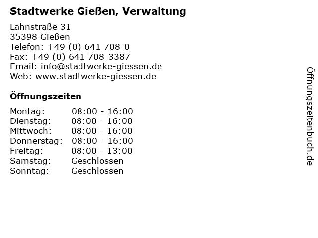 Stadtwerke Gießen, Verwaltung in Gießen: Adresse und Öffnungszeiten
