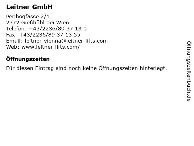 Leitner GmbH in Gießhübl bei Wien: Adresse und Öffnungszeiten