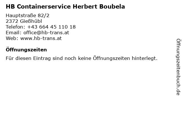 HB Containerservice Herbert Boubela in Gießhübl: Adresse und Öffnungszeiten