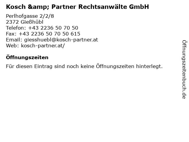 Kosch & Partner Rechtsanwälte GmbH in Gießhübl: Adresse und Öffnungszeiten