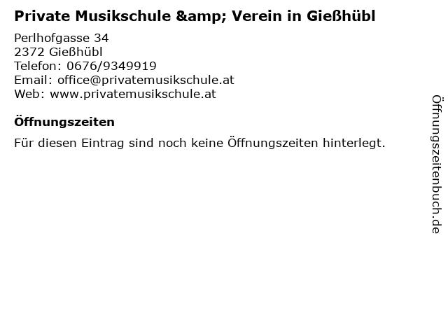 Private Musikschule & Verein in Gießhübl in Gießhübl: Adresse und Öffnungszeiten