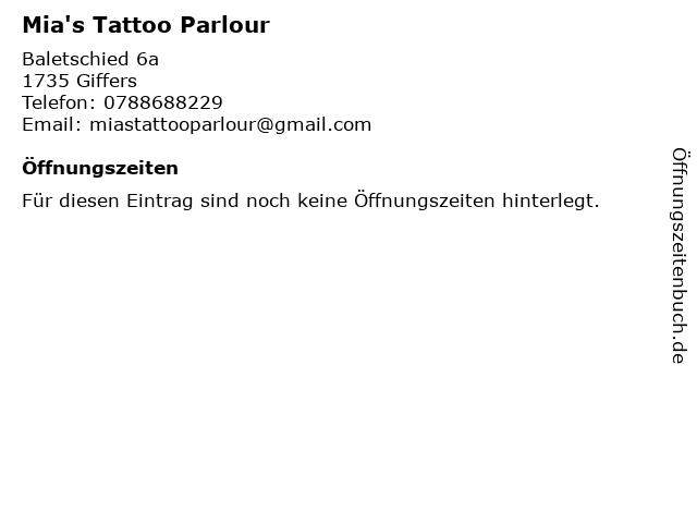 Mia's Tattoo Parlour in Giffers: Adresse und Öffnungszeiten