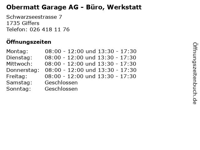 Obermatt Garage AG - Büro, Werkstatt in Giffers: Adresse und Öffnungszeiten