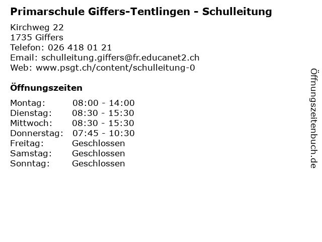 Primarschule Giffers-Tentlingen - Schulleitung in Giffers: Adresse und Öffnungszeiten