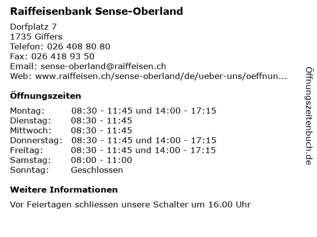 Raiffeisenbank Aergera-Galtera in Giffers: Adresse und Öffnungszeiten