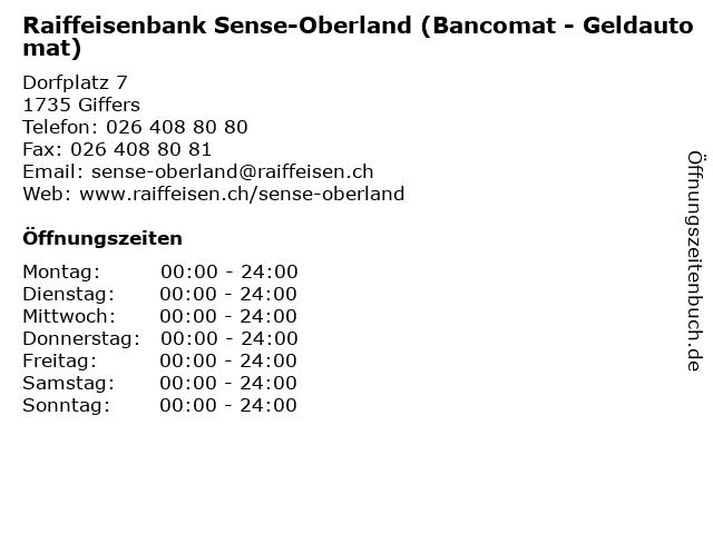 Raiffeisenbank Sense-Oberland (Bancomat - Geldautomat) in Giffers: Adresse und Öffnungszeiten