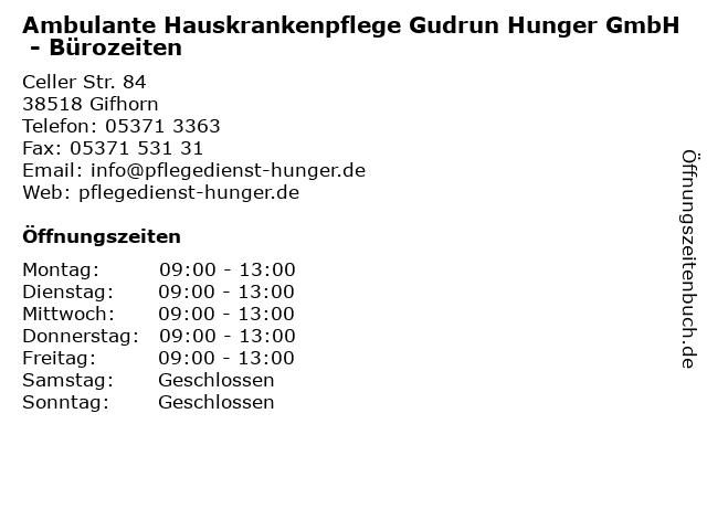Ambulante Hauskrankenpflege Gudrun Hunger GmbH - Bürozeiten in Gifhorn: Adresse und Öffnungszeiten